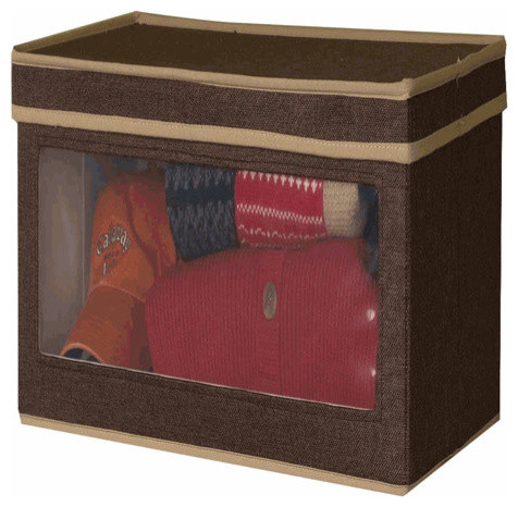 Lidded Storage Box With Window   Large Coffee Linen Traditional Storage Bins  And