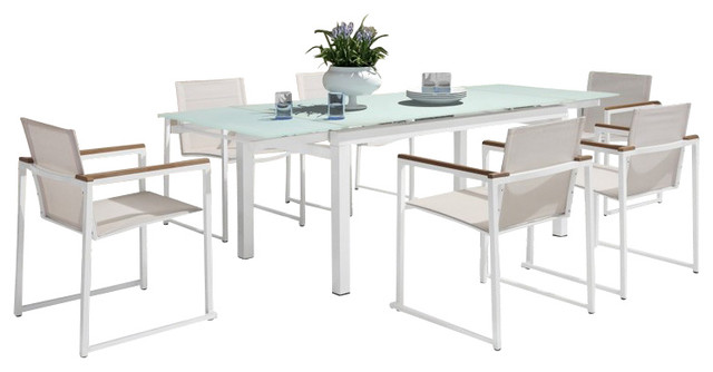 Attractive Modern Extendable Glass Patio Dining Set, 7 Piece Modern Outdoor Dining
