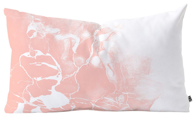 """Emanuela Carratoni Pink Marble With White Oblong Throw Pillow, 23""""x14""""."""