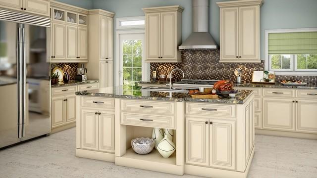 Full Overlay White Kitchen Cabinets - Kitchen