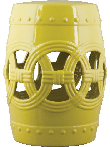 Oriental Danny Circle Of Happiness Vibrant Yellow Garden Stool  Asian Accent And Garden