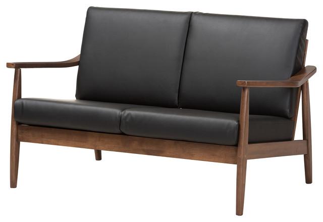 Venza Mid-Century Modern Walnut Wood Black Faux Leather 2-Seater Loveseat