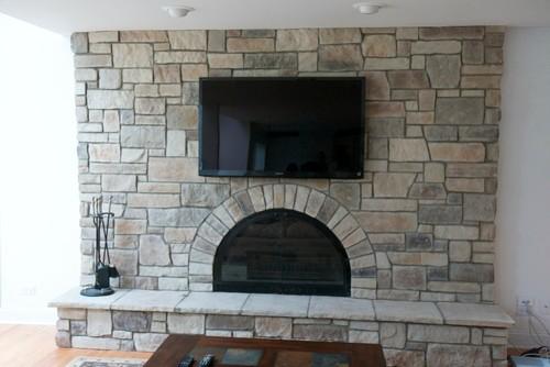 Brick Fireplace to Stone Veneer Transformation