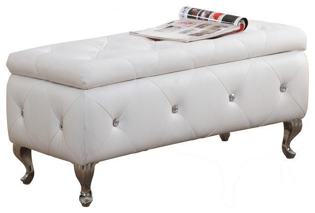 Chante Crystal Tufted Storage Bench Traditional Accent