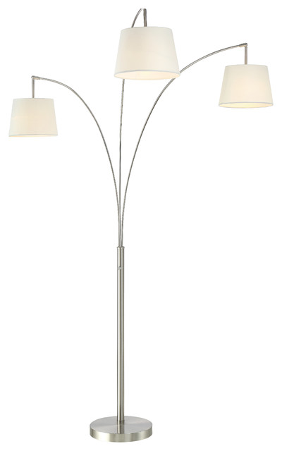 Artiva Luce 84 Quot Modern Led 3 Arch Brushed Steel Floor Lamp