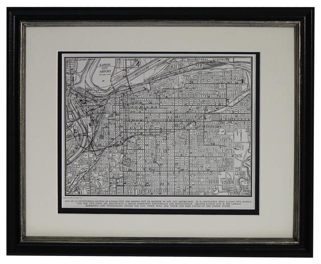 Original Vintage Framed Map Of Kansas City Missouri 1949