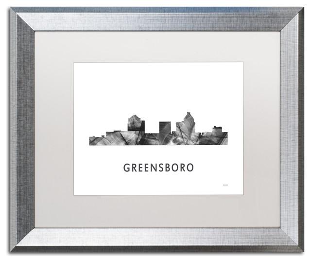 39 Greensboro Nc Skyline 39 Matted Framed Art Contemporary