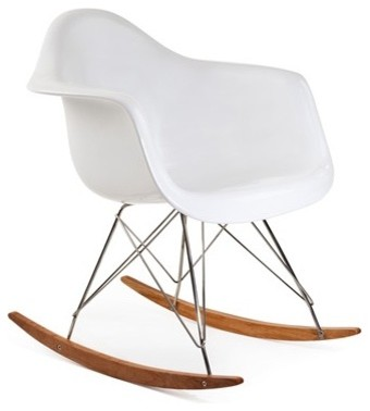 RAR Mid Century Modern Rocking Chair, Steel Eiffel Legs, White