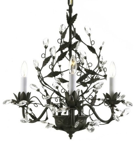 Black Wrought Iron Chandelier With Faceted Crystal