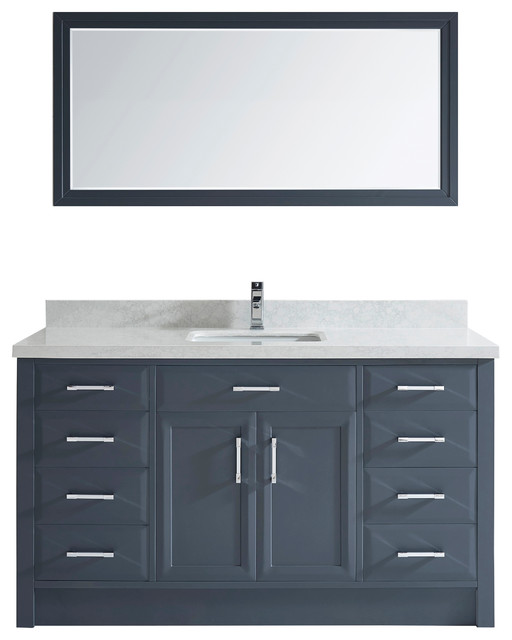 Art Bathe Calais 60'' Vanity Set, Pepper Gray and Solid Surface Marble