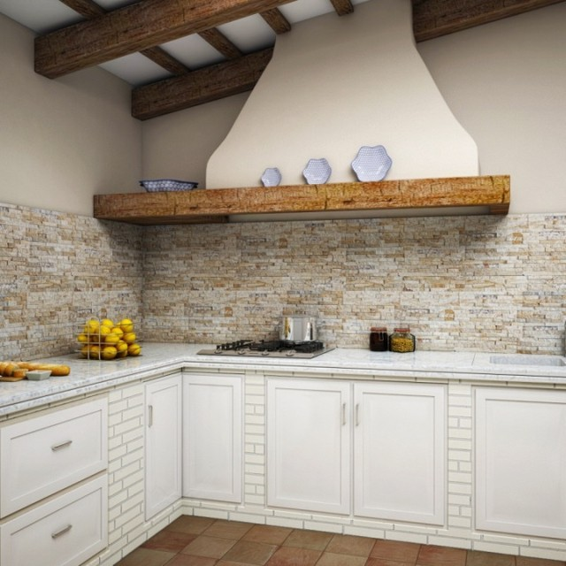 Photo Of A Medium Sized Kitchen Pantry In Other With Beige Splashback