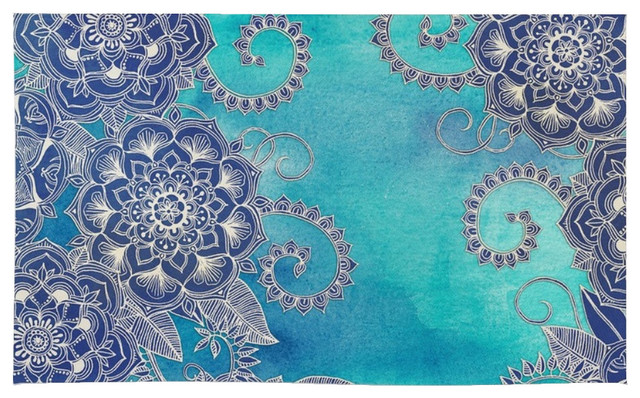 Society6 society6 mermaid 39 s garden navy and teal floral for Navy and teal rug