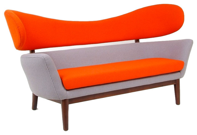 Baker Sofa, Orange/Grey Midcentury Sofas