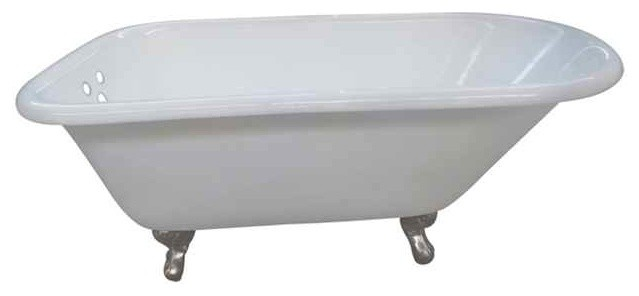 Classic Roll Top Clawfoot Tub With Feet In Satin Nickel Finish.