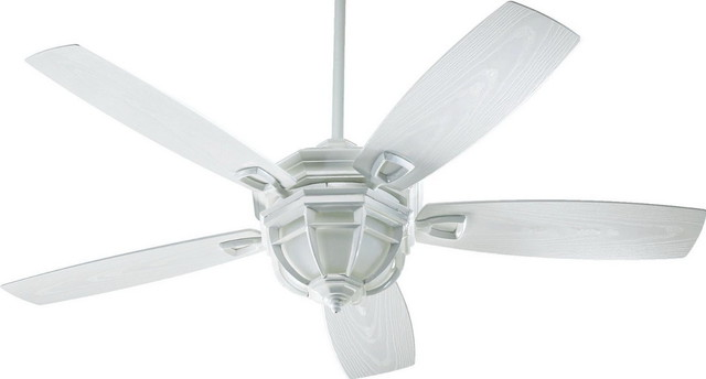 Quorum   Indoor/Outdoor Ceiling Fan With Light Kit, Whitewash   Ceiling Fans