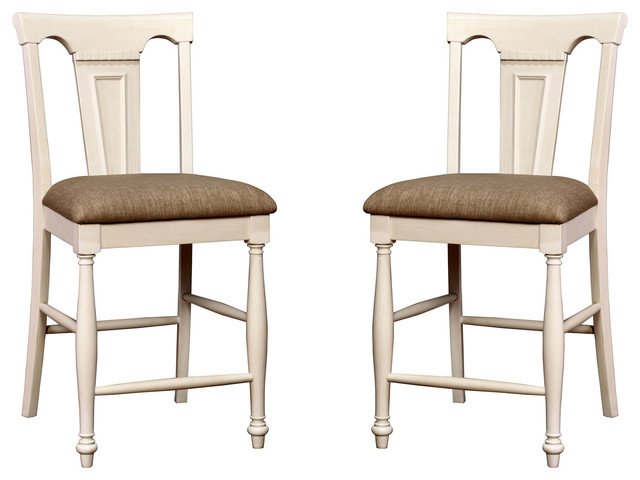 Superb Country Style Counter Height Wood Dining Chairs Fabric Seat Set Of 2 White Pabps2019 Chair Design Images Pabps2019Com