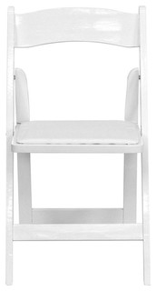 Hercules Series Wood Folding Chair With Vinyl Padded Seat, White