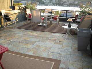 Interlocking Slate Deck Tiles On Patio Modern Patio