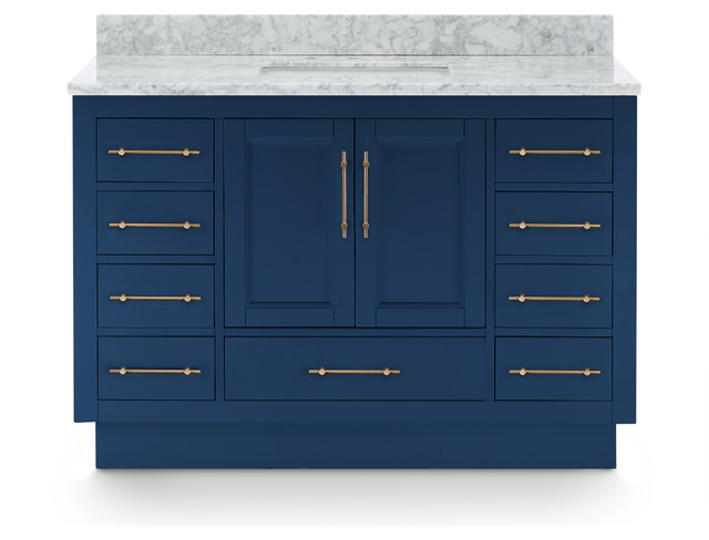 """Kendall Vanity With Plinth Base, Blue, 48"""""""