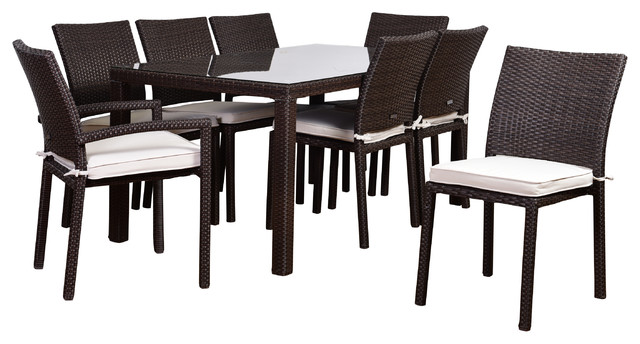 Sasson 9-Piece Outdoor Dining Set, Brown And Off-White.