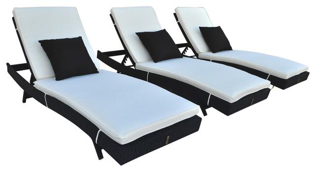 Zori Chaise Lounge Chair, Black Rattan With Cream Cushions.