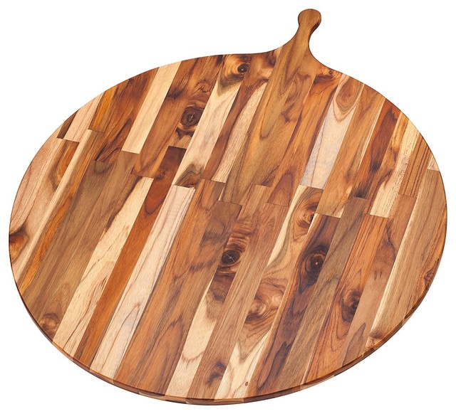 Teak Cutting Board Large Round Serving Board With Handle