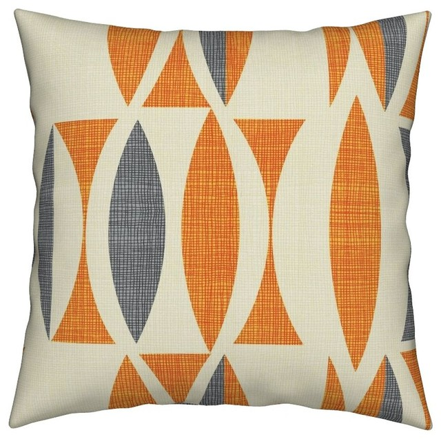 Linen Seventies Vintage Gray Abstract Orange Throw Pillow Cover Velvet.