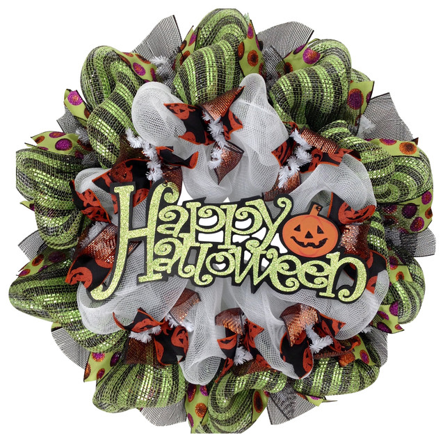 Happy Halloween Sign With Jack O&x27;lantern  Deco Mesh Wreath.