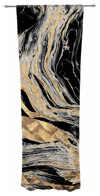 """gold Marble"" Black Gold Modern Digital Decorative Sheer Curtain."