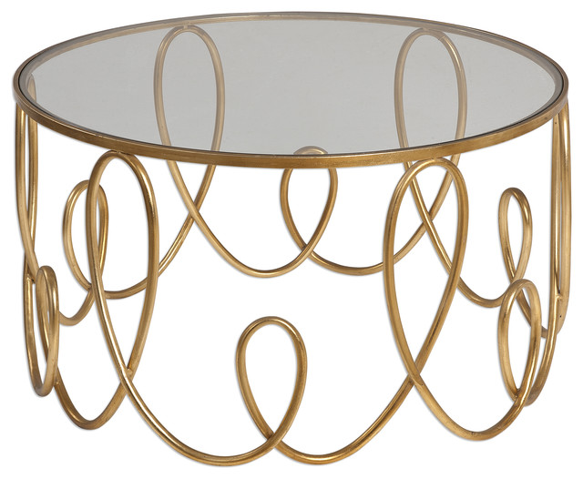 Gorgeous Gold Swirl Open Coffee Table Round Modern Contemporary Gl Drum