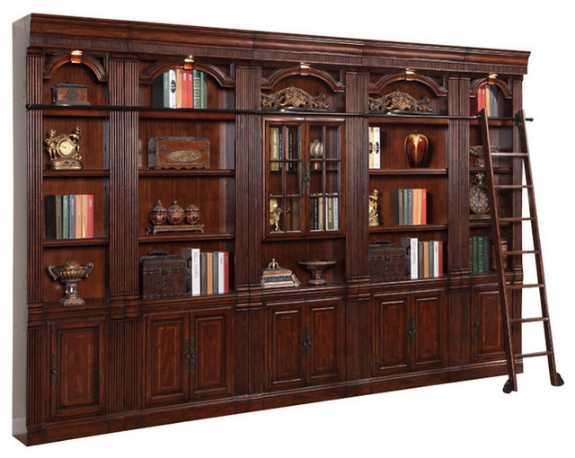 Parker house wellington glass door library wall unit for Build traditional bookcases wall units