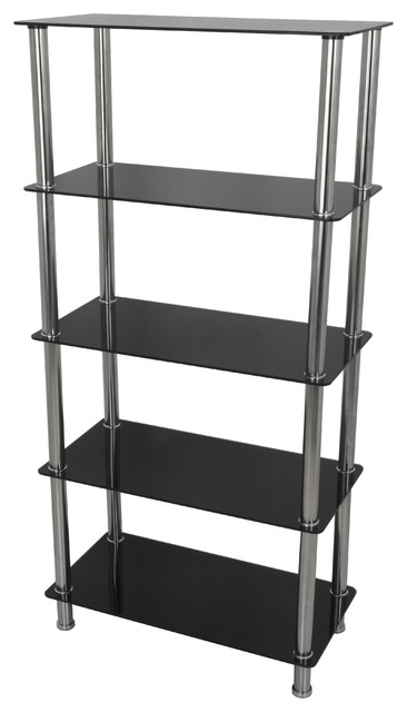 Tall 5 Tier Shelving Unit In Black Glass & Chrome.