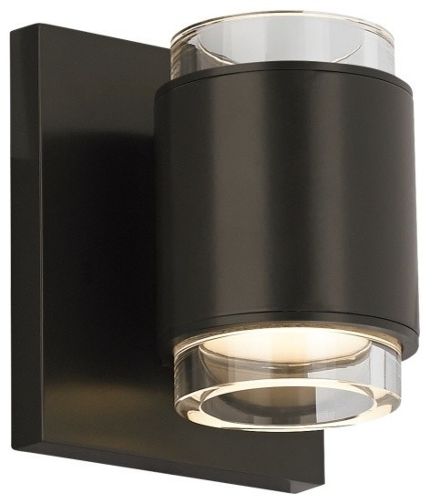 Tech Lighting Voto LED830 120V Round Wall Sconce, Clear/Antique Bronze