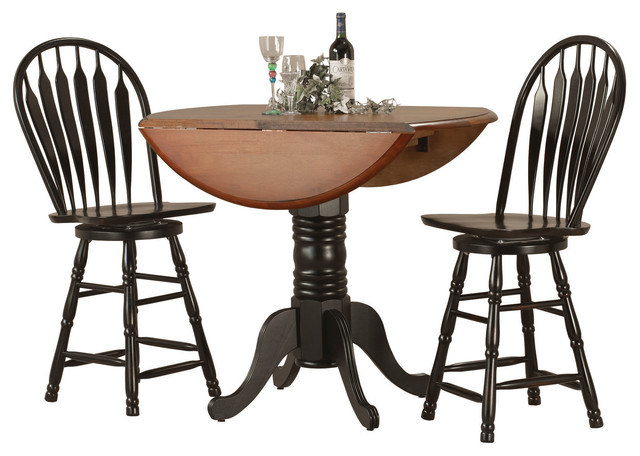 3-Piece Drop Leaf Pub Table Set With 24 Swivel Bar Stools.