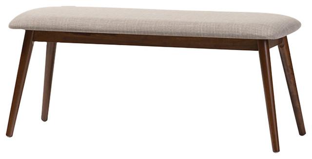 Merveilleux Flora Mid Century Modern Wood Dining Bench, Light Gray, Oak Medium Brown