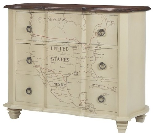 Westward Map of Americas Chest In Cream