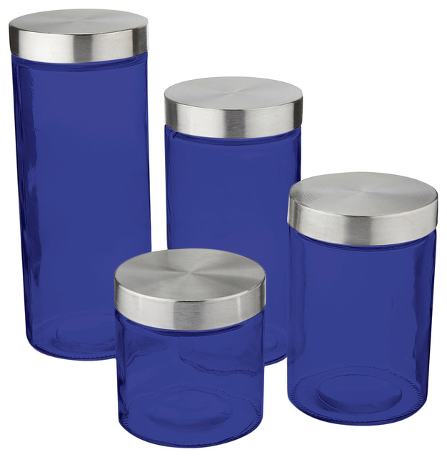 Delightful Anchor Hocking Callista 4 Piece Glass Canister Set, Stainless Steel Lids, Bl