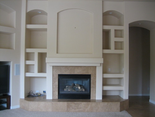 Family Room Fireplace Niche Wall Before And After