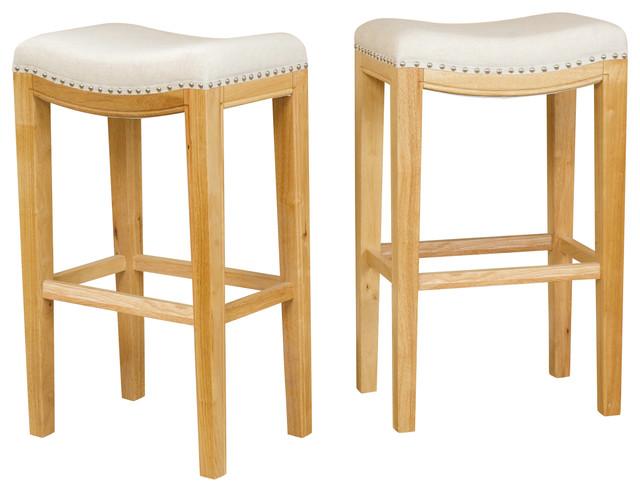 Jaeden Backless Bar Stools Set of 2 Beige transitional bar stools