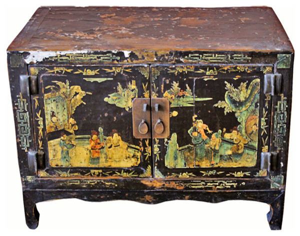 Consigned Antique Small Black Lacquer Cabinet Asian