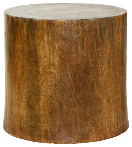 Mango Stump End Table, Livos Antique Style Oak Oil Finish Transitional Side