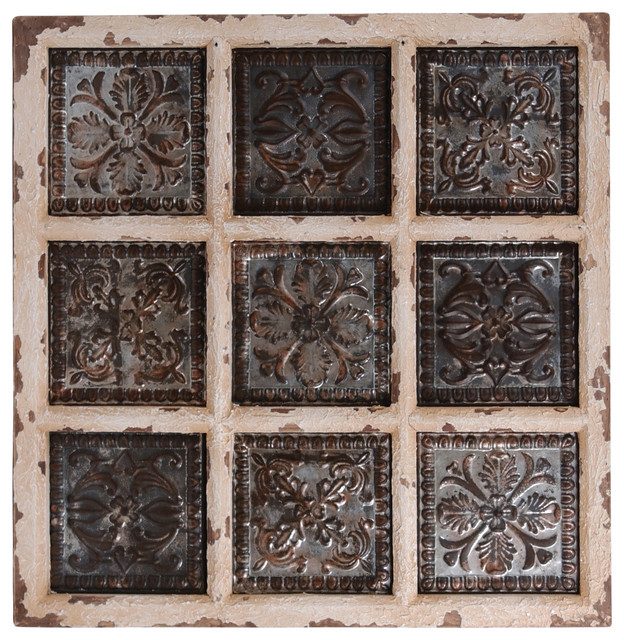9 panel galvanized tin embossed wall decor traditional. Black Bedroom Furniture Sets. Home Design Ideas