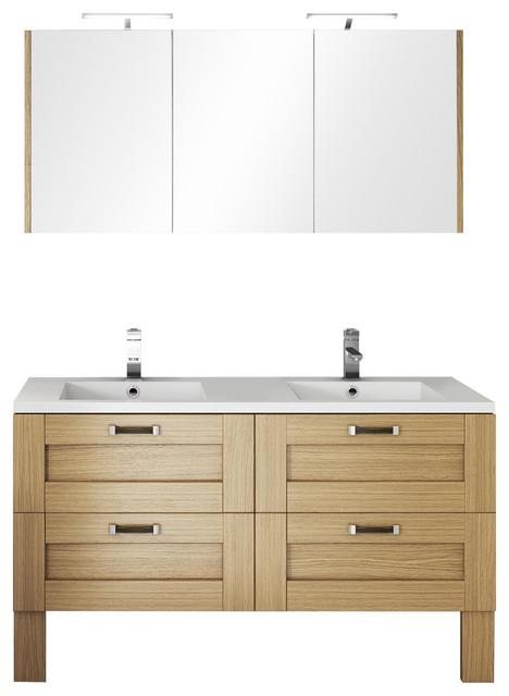 Cosy Natural Baltic Double Bathroom Vanity Unit, 140 cm