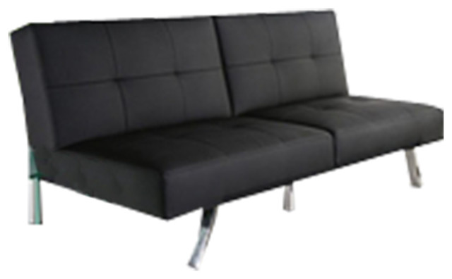 Amazing Attractive Black Leatherette Foldable Click Clack Futon Sofa Bed Caraccident5 Cool Chair Designs And Ideas Caraccident5Info