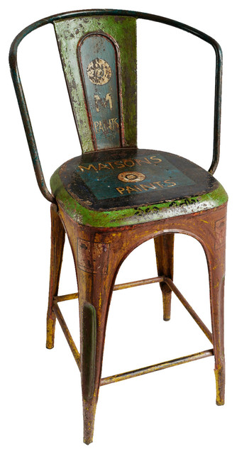 Brilliant Consigned Industrial India Metal Painted Bar Stool Spiritservingveterans Wood Chair Design Ideas Spiritservingveteransorg