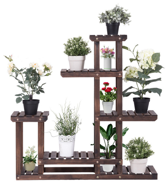 Costway Outdoor Wooden Plant Flower Display Stand 6 Wood