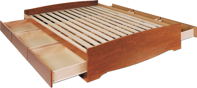 Queen Mate&x27;s Platform Storage Bed With 6-Drawer, Cherry.