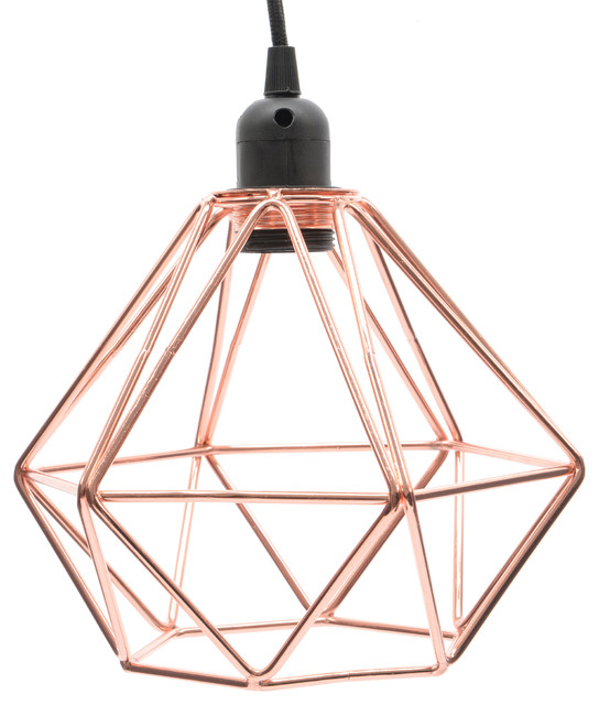 HIGHLIGHT - Wire cage vintage industrial polygon art deco pendant lamp light  - Pendant Lighting