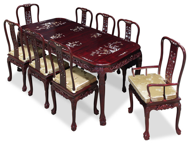 Rosewood Queen Ann Grape Motif Dining Table With Chairs