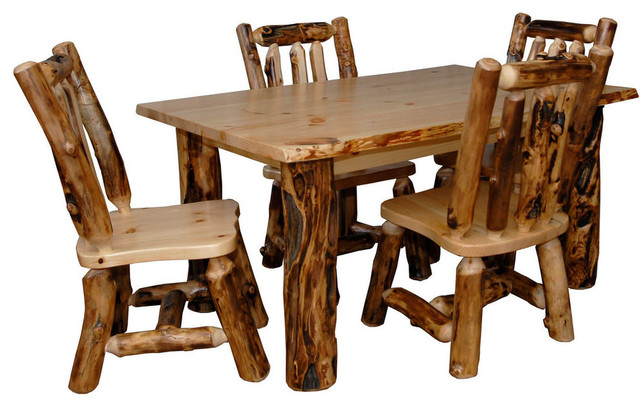 rustic aspen log kitchen table set with 4 dining chairs rustic